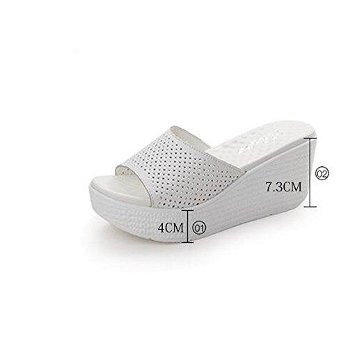 7.4 cm Chaussons à talons hauts antidérapants anti-dérapants à l'été (bleu / noir / rose / blanc) ( Couleur : Noir , taille : EU36/UK4/CN36 ) Blanc