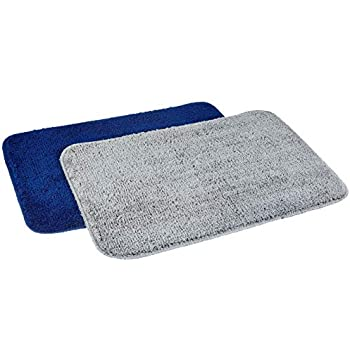 Amazon Brand - Solimo Anti-Slip Microfibre Bathmat, 40cm x 60cm - Pack of 2 (Blue and Grey)