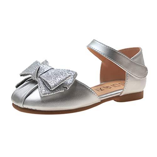 AIni Zapatos Planos de Verano para Niñas Sandalias de Lentejuelas de Color Puro,Zapatos de Baile Arco...