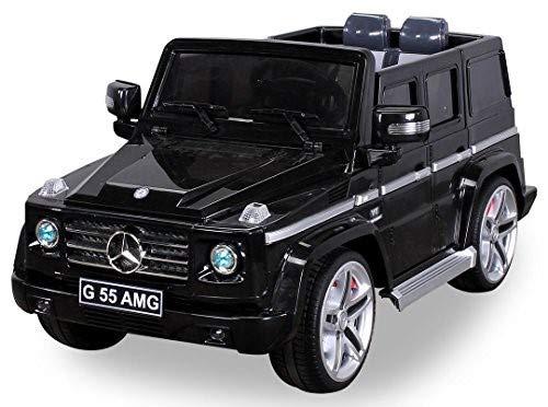 Actionbikes Motors Original MercedesBenz AMG G55 High Door - Leder Sitz Jeep Lizenz Elektro Kinderauto Kinderfahrzeug Spielzeug (schwarz)