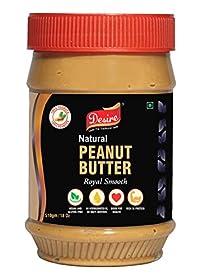 Desire Natural Peanut Butter - Unsweetened (All Natural - Non-GMO, Gluten Free, Vegan) 510 Gram