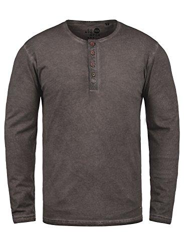 SOLID Timur Herren Longsleeve Langarmshirt mit Grandad- Ausschnitt aus 100% Baumwolle Slim Fit Meliert, Größe:XL, Farbe:Coffee Bean (5973) (Langarm Baumwolle Stretch Tee)
