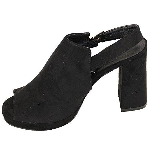 Donna Camoscio LOOK Sandali Sabot donna tacco spesso punta aperta Scarpe con fibbia PARTY Nero - ll1721