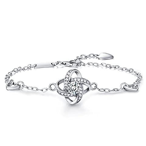 Frauen 925 Sterling Silber Armband -W & M vier Blatt Klee Armband Wunsch