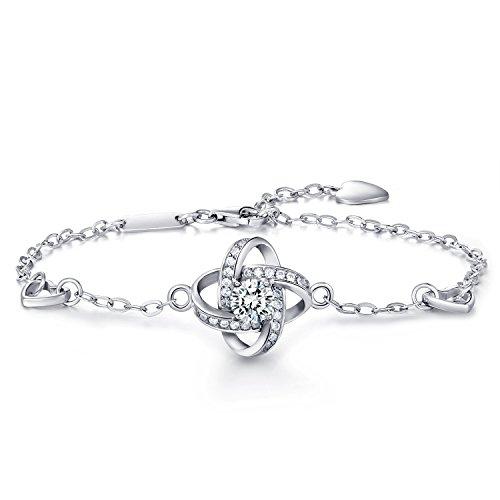 """Frauen 925 Sterling Silber Armband -W & M vier Blatt Klee Armband Wunsch """"GUTES GLÜCK"""" mit Inspiration Zitat Karte"""