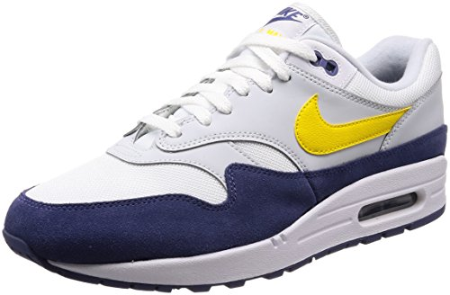 Nike Air Max 1, Chaussures de Gymnastique Homme, Blanc (WhiteTour YellowBlue Recall 105), 40 EU