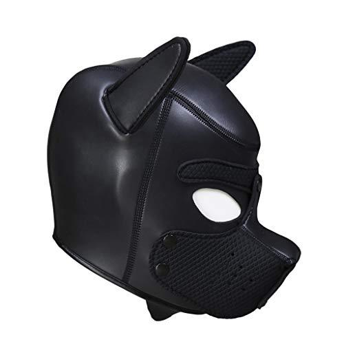 Benutzerdefinierte Cosplay Kostüm - UFODB Gepolsterte Welpenhaube aus Latex benutzerdefinierte Tier Kopf Maske Neuheit Kostüm Hund Kopf Masken Cosplay voller Kopf mit Ohren Sexy Cosplay Role Play