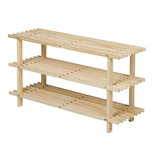 JX Schuhregal Schuhregal 3 Schichten Holz Regale Einfache Aufbewahrung Regal Massivholz Wood Color