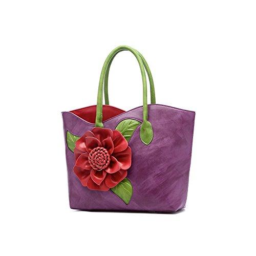 Taschen Handtaschen Damen Einfach Henkel Tasche Elegant wasserdichte Handtasche Kunstleder Schultertasche Lila