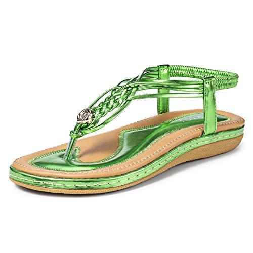 Sommer Sandalen,Frauen Strand Elastischen Gemütlich Webmuster Schuhe Knöchelriemchen FreizeitUrlaub rutschfest Sommerschuhe Green 42 EU ()