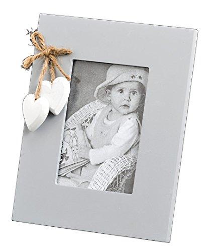 Bilderrahmen grau mit Holz Herzanhänger Fotorahmen stehend 20x16cm