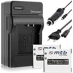 2 Batteries + Chargeur (Auto/Secteur) pour Olympus Li-50B / XZ-10. / Pentax WG-3 / Ricoh CX5 Voir liste!