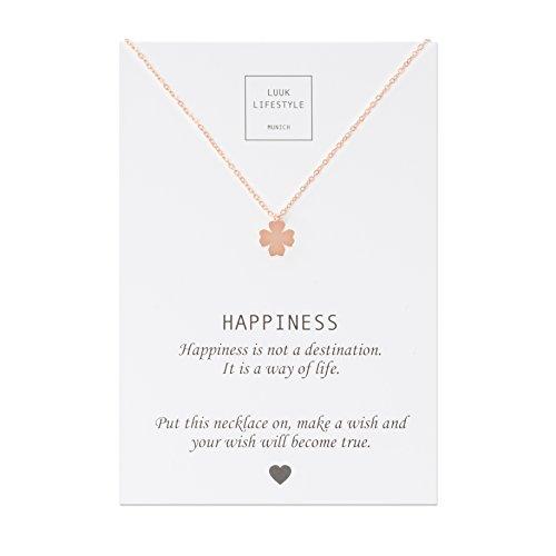 LUUK LIFESTYLE Collar de acero inoxidable con colgante de trebol de cuatro hojas y cita Happiness, joya de mujer, tarjeta de regalo, amuleto, rose