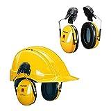 3M H510P3E-405-GU Cuffie Protettive con Attacco per Elmetto, 26 dB, Giallo