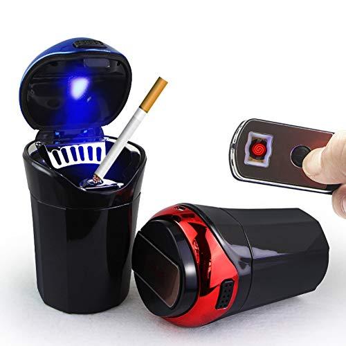 Aschenbecher ANNIGI AschenbecherFeuerzeug 2in1 Auto LED-Licht USB-Cup Rauchen ZigaretteMülleimer AschenbecherBox Rauch Elektronische Innen Zubehör Man