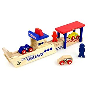 Holzeisenbahn Zubehör Set Holz Autozug-Fährhafen Holzspielzeug