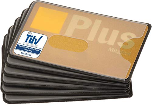 valonic RFID Schutzhülle abgeschirmt - TÜV geprüft - NFC Blocker für Kreditkarte - transparent mit Loch Ausschnitt - Plastik - 6 Stück