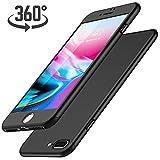 Luckydeer Coque iPhone 7 Plus et en Verre Trempé, Noir (5,5 Pouces)