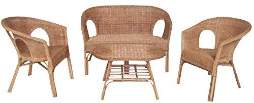 Okaffarefatto maddaloni salotto completo in vimini bambù rattan e giunco naturale con 1 divanetto 2 poltrone 1 tavolino kelec naturale