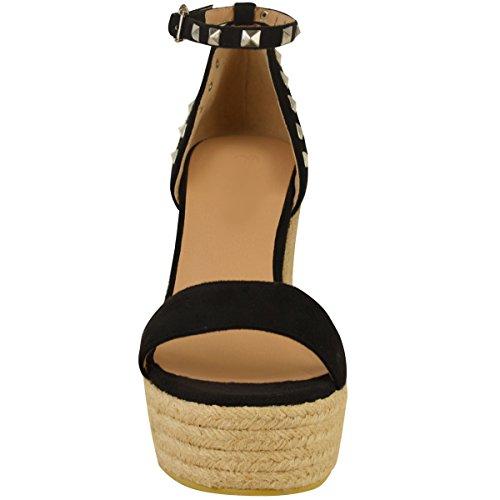 Sandales à clous - talons hauts compensés/plateforme - pour fête/été - femme Faux suède noir/clous argentés