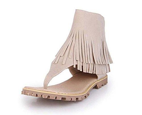 Beauqueen Estate Tassel Plain Scrub femminile cerniera pattini casuali Dimensioni speciali di donne dei sandali Europa 32-47 beige