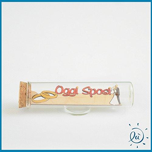 Tubicino in vetro scritta legno oggi sposi misura 3x11 cm | tubi in vetro per bomboniere matrimonio nascita comunione e idee regalo casa e coppia