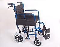 Aluminium Lightweight Folding Transit Wheelchair With Brakes In Blue AMW003B