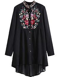 ROMWE Damen Lang Bluse mit Blumen Stickerei Stehkragen Locker Vorne Kurz  Hinten Lang Bluse 8cfb80afa5