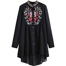 ROMWE Damen Lang Bluse mit Blumen Stickerei Stehkragen Locker Vorne Kurz  Hinten Lang Bluse 87ead4cdab