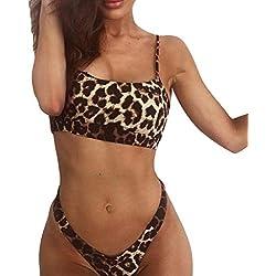 Lenfesh Bikini de Playa con Estampado de Leopardo Bikini Traje de baño Sexy Push-up Acolchado Bra Bikini Verano Tops y Braguitas Verano 2019
