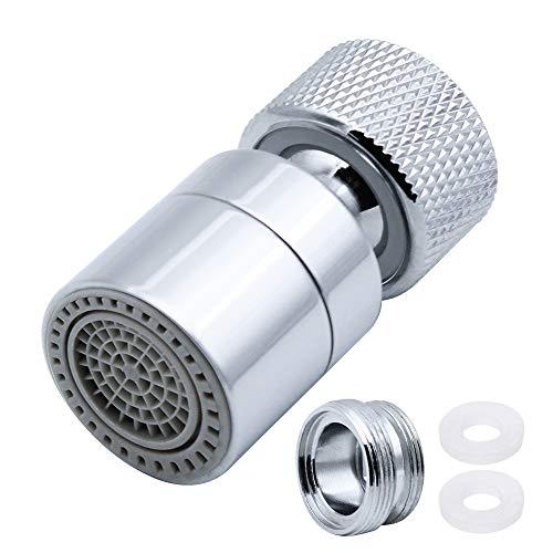 JaneYi 360° Drehbar Zapfhahn Belüfter Wassersparender Wasserhahn Messing Einstellbare 2 Modi Küche Bad Wasserhahn Bubbler Filter mit Düsenadaptern - für Hahn mit M22 Außengewinde oder M24 Innengewinde