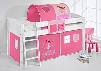 """Cama semi alta """"IDA BLANCA"""" con cortinas convertible en cama baja - Bailarina Rosa, 4106 Listones"""