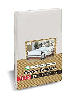 Cotton Comfort Pillow Cases 400 Thread Count 100% Egyptian Cotton, White, Pack Of 2 from Cotton Comfort