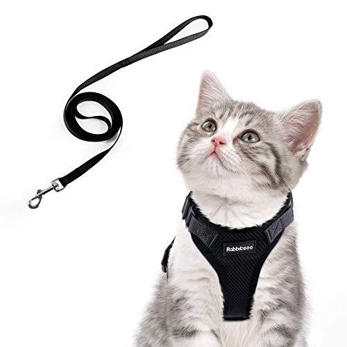 rabbitgoo Katzengeschirr mit Leine Schwarz Softgeschirr für Katze Brustgeschirr Cat Harness Katzengarnitur ausbruchsicher verstellbar Katzenweste XS