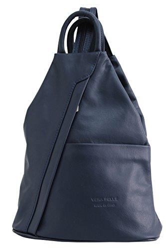 AMBRA Moda echt Leder Damenrucksack CityRucksack DayPack NL606R (Marineblau)