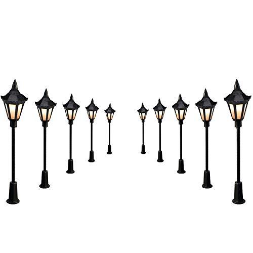 NAJING 10 Stück Plastik Park Hof Laternen Straßen Lampe Modellbau Hexagonal Einzel Kopf LED Leuchten Lampen Pfosten Modell Straßenbeleuchtung 3V DC Warm weiß -