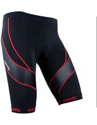 Santic Pantalones Cortos de Ciclismo de 4D COOLMAX Padded para Hombres de Color Rojo Talla S