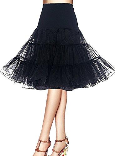 Minetom 1950 Petticoat Reifrock Unterrock Petticoat Underskirt Crinoline für Rockabilly Kleid Schwarz EU (Vintage Stil Kostüme Bauchtanz)
