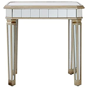 Premier Housewares Tiffany Mirrored Side Table, Wood - Silver
