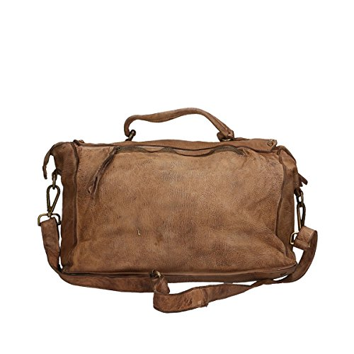 Chicca Borse Borsa a mano in pelle 36x30x16 100% Genuine Leather Fango