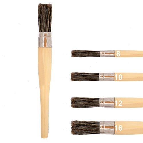 Rundpinsel Größe 16 mit braunen Naturborsten und Holzgriff zum Malen, Streichen oder auch Lasieren