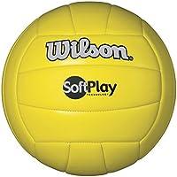 Wilson Soft Play - Balón de voleibol para exteriores, color amarillo, tamaño Official