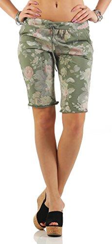 ZARMEXX mode femme Shorts Sweatpants Shorts courts pantalons sport loisir fleurs de coton armée