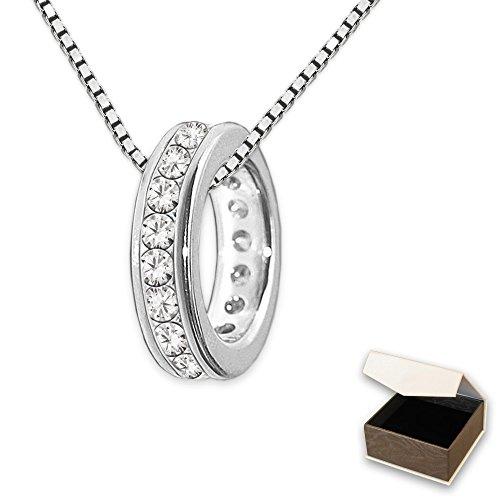 CLEVER SCHMUCK-SET Silberner kleiner Mini Taufring 10 mm viele Zirkonias weiß ringsum mit Kette Venezia 36 cm STERLING SILBER 925 rhodiniert im Etui