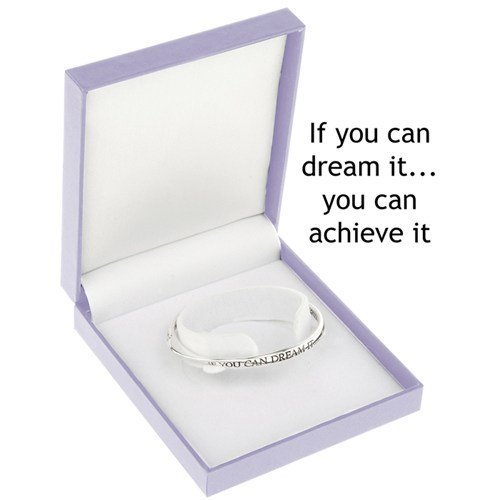 "Equilibrium - Bracciale rigido placcato in argento con scritta ""If You Can Dream It You Can Achieve It"""