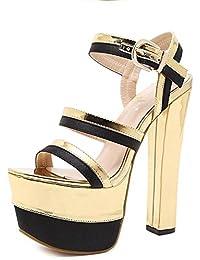LGK&FA Boca De Pescado Grueso Sandalias Super Zapatos De Tacón Alto Hentian 16Cm 36 Golden
