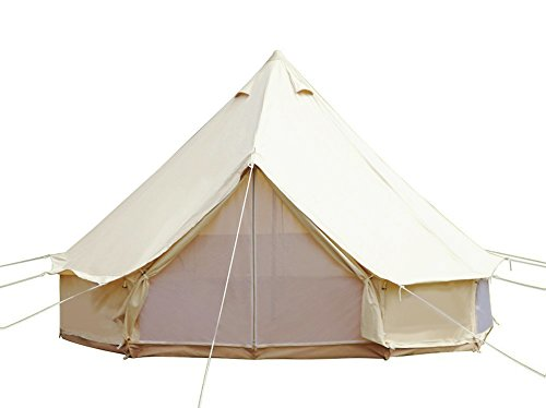 sporttent 4-season cotton bell tent waterproof large teepee glamping with mesh door mosquito screen ground sheet waterproof cotton for family luxury camping tents for outdoor hiking christmas party