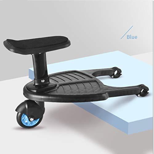 Manyo Marche Pied pour Poussette, Mini Buggy Board Roue à 360 ° Planche Poussette Pédale Pliable (Bleu)