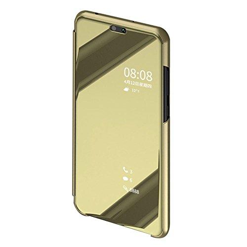 BCIT Cover Xiaomi Mi 8 Custodia Flip Mirror Cassa del Cuoio Genuino di Caso Specchio Bling 3D Protecter Shell di lusso + pellicola protettiva in vetro temperato pet Xiaomi Mi 8 SE - Oro
