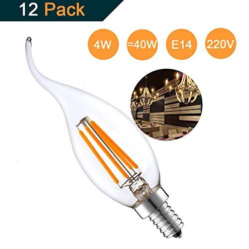 Lot de 12 4W E14 Ampoule de Filament LED Flamme Bougie 2700K Blanche Chaude Equivalent Ampoules Incandescente Halogène 40W Non-Dimmable par THINKMORE